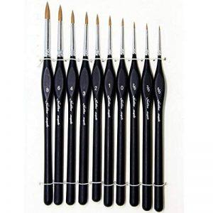 10 Pcs Best Professional Detail Paint Brush, les brosses à miniatures de haute qualité garderont un bon point et un ressort, pour l'aquarelle, l'huile, l'acrylique, les ongles et les modèles de la marque GP image 0 produit