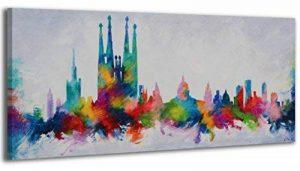 100% TRAVAIL FAIT À LA MAIN + certificat   115x50 cm   Le tableau est dessiné par les couleurs acryliques   Couleurs Barcelone   tableaux sur la toile avec sous-cadre en bois naturel   tableau fait à la main   fixation murale pratique   Art contemporain d image 0 produit