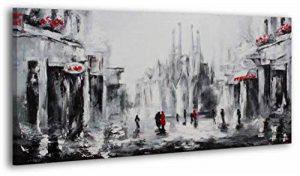 100% TRAVAIL FAIT À LA MAIN + certificat   130x70 cm   Le tableau est dessiné par les couleurs acryliques   Barcelone   tableaux sur la toile avec sous-cadre en bois naturel   tableau fait à la main   fixation murale pratique   Art contemporain de la marq image 0 produit