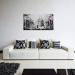 100% TRAVAIL FAIT À LA MAIN + certificat   130x70 cm   Le tableau est dessiné par les couleurs acryliques   Barcelone   tableaux sur la toile avec sous-cadre en bois naturel   tableau fait à la main   fixation murale pratique   Art contemporain de la marq image 4 produit
