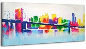 100% TRAVAIL FAIT À LA MAIN + certificat | Le tableau est dessiné par les couleurs acryliques Avant-garde | 115x50 cm | tableaux sur la toile avec sous-cadre en bois naturel | tableau fait à la main | fixation murale pratique | Art contemporain de la marq image 0 produit