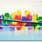 100% TRAVAIL FAIT À LA MAIN + certificat | Le tableau est dessiné par les couleurs acryliques Avant-garde | 115x50 cm | tableaux sur la toile avec sous-cadre en bois naturel | tableau fait à la main | fixation murale pratique | Art contemporain de la marq image 1 produit