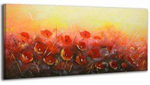 100% TRAVAIL FAIT À LA MAIN + certificat | Le tableau est dessiné par les couleurs acryliques Vallée des fleurs | 115x50 cm | tableaux sur la toile avec sous-cadre en bois naturel | tableau fait à la main | fixation murale pratique | Art contemporain de l image 0 produit