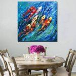 100x100cm - Impressions sur toile Art mural - Abstrait peinture à l'huile de poisson riche réplique mer Décorations de mur de poissons pour le salon sans cadre (PP1858, 100_x_100_cm) de la marque Fajerminart image 3 produit