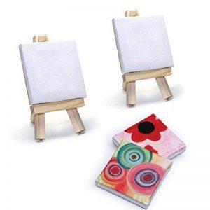 2 mini toiles vierges à peindre 7x7cm avec chevalet - Peinture, dessin, art de la table de la marque LCDG image 0 produit
