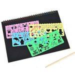 2 PCS Scratch peinture pour enfants Rainbow Scratch Art papier peinture magique papiers Scratch conseils avec fond Scratch Art feuilles 19 * 26cm + 5 bois Stylus Sticks + 4 pochoirs avec 73 modèles de la marque Fashionbabies image 3 produit