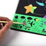 2 PCS Scratch peinture pour enfants Rainbow Scratch Art papier peinture magique papiers Scratch conseils avec fond Scratch Art feuilles 19 * 26cm + 5 bois Stylus Sticks + 4 pochoirs avec 73 modèles de la marque Fashionbabies image 4 produit