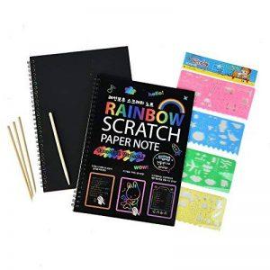 2 PCS Scratch peinture pour enfants Rainbow Scratch Art papier peinture magique papiers Scratch conseils avec fond Scratch Art feuilles 19 * 26cm + 5 bois Stylus Sticks + 4 pochoirs avec 73 modèles de la marque Fashionbabies image 0 produit