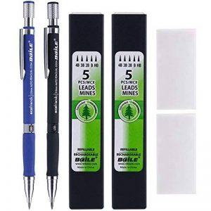 2 Pièces Crayons Mécaniques 2.0 mm 2B avec 2 Cas Recharges de Plomb et 2 Pièces Gommes à Effacer pour Dessin, Charpentier, Artisanat, Croquis d'Art (Bleu et Noir) de la marque Bememo image 0 produit