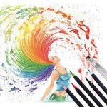 20 Feutres Pinceaux Aquarelle et 1 Aqua Brush – qualité supérieure, créez des effets aquarelle – parfait pour cahiers de coloriage adulte, mangas, comics, calligraphie (Noir) de la marque Tvfly image 2 produit