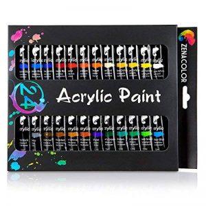 24 tubes de peinture acrylique Zenacolor - Pack de 24 x 12mL - Peinture acrylique de qualité supérieure et non toxique - 24 Couleurs uniques et différentes - Idéal pour débutant ou professionnel - Pigments riches et sèche rapide - Facile à peindre sur can image 0 produit