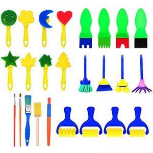 25 Pièces Pinceaux de Peinture Éponge Set Outils de Dessin d'Apprentissage Précoce d'Enfant pour Bricolage Arts Artisanat, Couleurs et Formes Assorties de la marque Hicarer image 0 produit