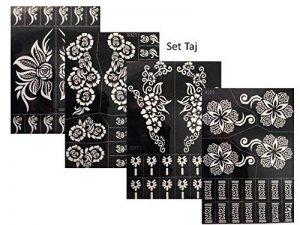 4pochoirs Sheets Tattoo Body Art Mehndi henné Designs Kit Taj pour körpet peints de la marque Beyond Paradise image 0 produit