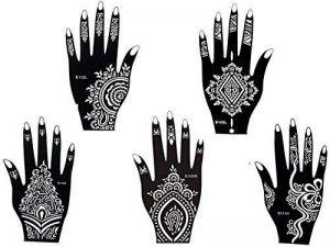 5 Feuilles Mehndi Tatouage Pochoir pour la main Hand 5 Mehndi Tatouages au henné Set 3 à usage unique - pour tatouage au henné, tatouage paillettes et aérographe tatouage de la marque Beyond Paradise image 0 produit