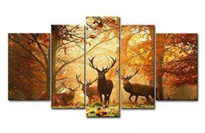 5panneaux de décoration avec motif cerf en automne, photo de la forêt, estampe sur toile, pour la maison moderne, décoration imprimée de la marque So Crazy Art image 0 produit