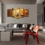 5panneaux de décoration avec motif cerf en automne, photo de la forêt, estampe sur toile, pour la maison moderne, décoration imprimée de la marque So Crazy Art image 1 produit
