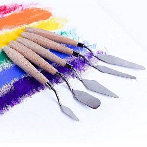 5 pcs Acier Inoxydable Palette Couteaux Poignée en Bois Peinture Ensemble de Couteau pour le Mélange de Peinture à l'huile de la marque GP image 0 produit
