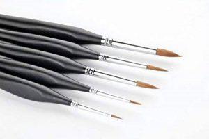 5 Pcs Best Professional Detail Paint Brush, brosses miniatures de haute qualité garderont un bon point et un ressort, pour l'aquarelle, l'huile, l'acrylique, les ongles et les modèles de la marque GP image 0 produit