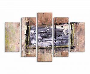 5pièces sur toile (Total: H 100cm B: 160cm) Châssis Toile imprimée Impression photo Impression sur toile Impression sur toile tableau noir marron BEIGE Motif carrés de la marque Paul Sinus Art image 0 produit