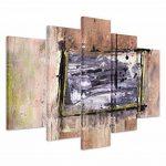 5pièces sur toile (Total: H 100cm B: 160cm) Châssis Toile imprimée Impression photo Impression sur toile Impression sur toile tableau noir marron BEIGE Motif carrés de la marque Paul Sinus Art image 1 produit