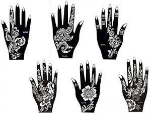 6 Feuilles Mehndi Tatouage Pochoir pour la main Hand 6 Mehndi Tatouages au henné Set 4 à usage unique - pour tatouage au henné, tatouage paillettes et aérographe tatouage de la marque Beyond Paradise image 0 produit