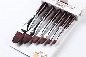 6pcs martre Rouge Cheveux Filbert Artiste Pinceaux de peinture pour acrylique Huile Gouche et aquarelle en bois Long manche de la marque GP image 0 produit