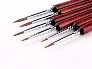 6Pcs 6Différent Tailles Set de pinceau pour détail Pinceaux à cheveux Weasel Miniature pour peinture aquarelle, acrylique et linéaire de la marque GP image 0 produit