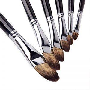 6Pcs Mongoose Filbert cheveux bouleau manche en bois brosse ensemble pour aquarelle, peinture acrylique et Liner, 6 tailles pour les enfants nouveaux apprenants peintres professionnels de la marque GP image 0 produit