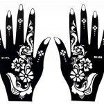 8 Feuille Mehndi Tatouage Pochoir pour la main Mehndi Tatouages au henné - à usage unique - pour tatouage au henné, tatouage paillettes et aérographe tatouage de la marque image 3 produit
