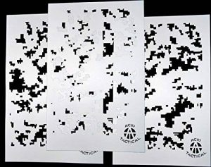 Acide Tactical® Lot de 3–23cm x 35cm Acide Tactical® Lot de 3–22,9x 35,6cm Unique Motif camouflage aérographe Pistolet à peinture en spray Auto Bateau Pochoirs (Digital Camo X3) de la marque AcidTactical image 0 produit