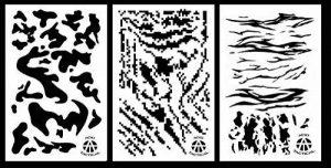 Acide Tactical® Lot de 3–23x 35cm Camouflage Peinture aérographe Pochoirs–Voitures, bateaux, Quads (armée de terre, rayé, Digital, tigré Camo) de la marque AcidTactical image 0 produit