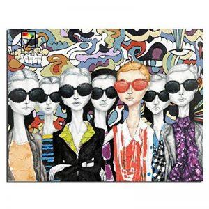 AIIYYN Portrait de peinture à l'huile peinte à la main pure portant des lunettes de soleil foule hôtel décoration peinture à l'huile de la marque AIIYYN image 0 produit