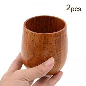 Amaoma Tasse en Bois Set Tasse de Thé Tasse de Voyage, Portable en Bois Tasse à Café Mug, Naturel Pour Café Bière Lait jus de jus, Idéal cadeau pour les amis (2pcs / set) de la marque Amaoma image 0 produit