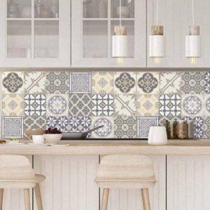 Ambiance-Live Carreaux de ciment adhésif mural - azulejos - 10 x 10 cm - 9 pièces de la marque Ambiance-Live image 0 produit
