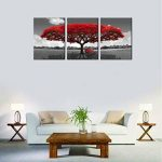 Amosi Art–3panneaux sur toile Décoration murale Rouge Arbre Tableau imprimé sur toile Paysage Peinture moderne illustrations tendue et encadrée prêt à accrocher sur toile Art L pour décoration de la maison, Toile, Red, 50cmx70cmx3pcs de la marque Amosi image 2 produit