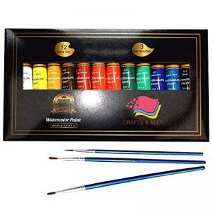 Aquarelle Set de peinture par Crafts 4Tous les 12Premium Qualité Art Kit de peinture à l'aquarelle pour artistes, les étudiants et les débutants–Idéal pour portrait et paysage peintures sur toile de la marque Crafts 4 ALL® image 0 produit