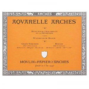 """'Arches 200177173Bloc aquarelle Rugueux, 300g/m², 20feuilles par bloc """"Bord gommé blanc 46x 61CM de la marque Unbekannt image 0 produit"""