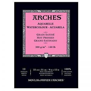 Arches Aquarelle Bloc 12 Feuilles 300 g Grain Satiné 23 x 31 cm Blanc Naturel de la marque Arches image 0 produit