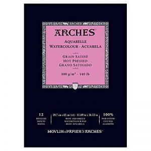Arches Bloc 12 Feuilles Aquarelle Grain Satiné Blanc Naturel 300G A3 de la marque Arches image 0 produit
