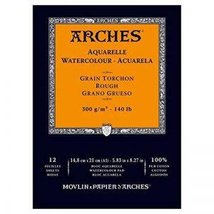 Arches Bloc 12 Feuilles Aquarelle Grain TORCHON Blanc Naturel 300G A5 de la marque Arches image 0 produit