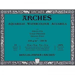 Arches Bloc Aquarelle Grain Fin 23 x 31 cm 640 g 10 Pages Naturel Blanc de la marque Arches image 0 produit