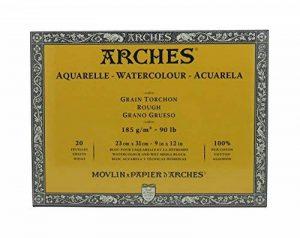 Arches Bloc Aquarelle Grain torchon 23 x 31 cm 185 g 20 Pages Naturel Blanc de la marque Arches image 0 produit