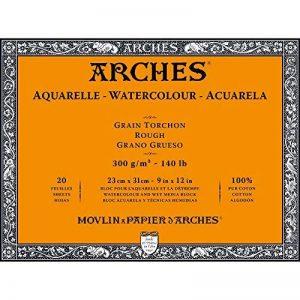 Arches Bloc Aquarelle Grain torchon 23 x 31 cm 300 g 20 Pages Naturel Blanc de la marque Arches image 0 produit
