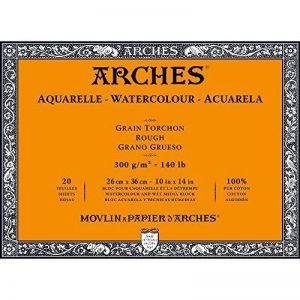 Arches Bloc Aquarelle Grain torchon 26 x 36 cm 300 g 20 Pages Naturel Blanc de la marque Arches image 0 produit