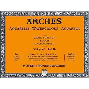 Arches Bloc Aquarelle Grain torchon 31 x 41 cm 300 g 20 Pages Naturel Blanc de la marque Arches image 0 produit
