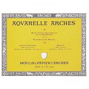 Arches Bloc collé 4 côtés 200177153 Papier aquarelle 23 x 31 cm 20 feuilles Blanc Naturel de la marque Arches image 0 produit