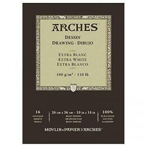 Arches Dessin Bloc 16 Feuilles 180 g Grain Fin 26 x 36 cm Extra Blanc de la marque Arches image 0 produit