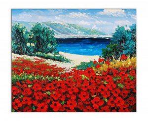 Arte Dal Mondo World Art TWPI172EAT-01 Peinture Mer et coquelicots tableau huile sur toile/peint à la main/montée sur châssis esthétique Bois Multicolore 60 x 50 x 2 cm de la marque Arte Dal Mondo image 0 produit