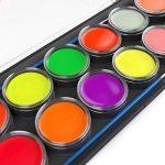 ARTEZA® Ensemble de Peintures Fluorescentes Réagissant aux UV Pour Corps et Visage, 12 Couleurs Brillant Dans le Noir, Réagit à la Lumière Noire, Palette Fluorescente (Set of 12) de la marque ARTEZA® image 3 produit
