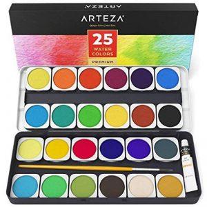 Arteza Ensemble Peinture Aquarelle Haut De Gamme, 25 Godets Avec Couleurs Vives, Comprend Un Pinceau (set de 25) de la marque ARTEZA® image 0 produit
